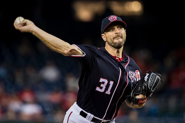 Nationals ace Max Scherzer pitches against the Atlanta Braves.