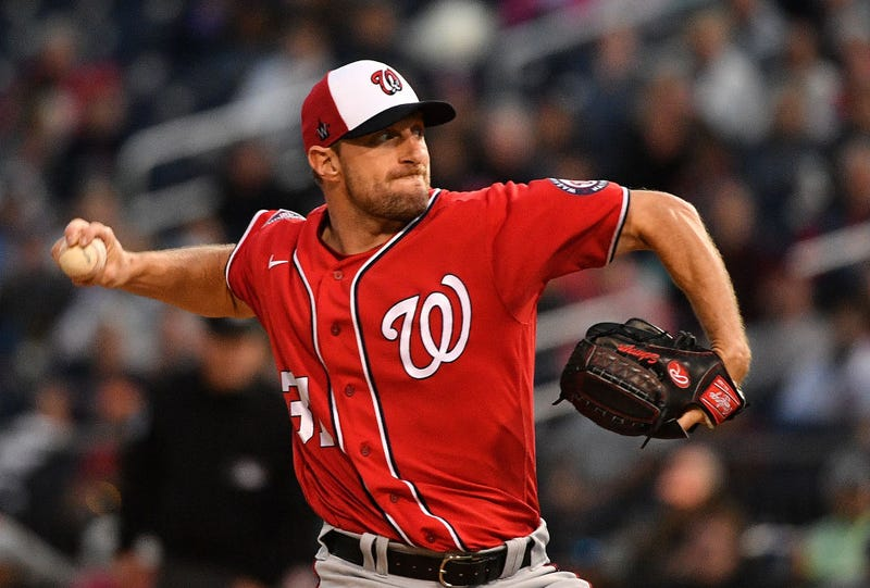 Max Scherzer delivers a pitch for the Nationals.