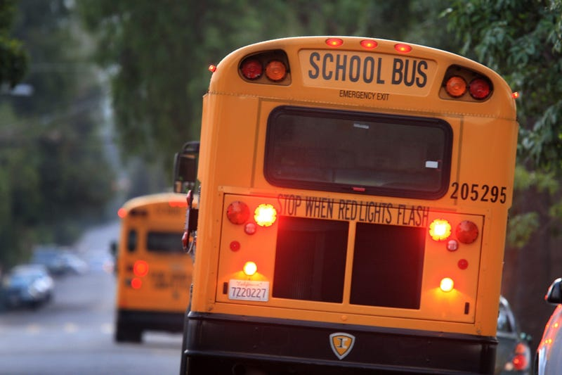 A school bus picks up students on October 10, 2008 in Pasadena, California.