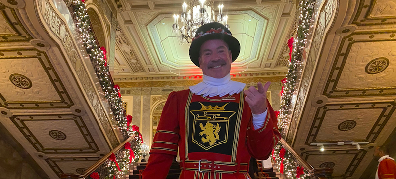 Tom Sweeney has been a beefeater at the Sir Francis Drake hotel for 43 years.
