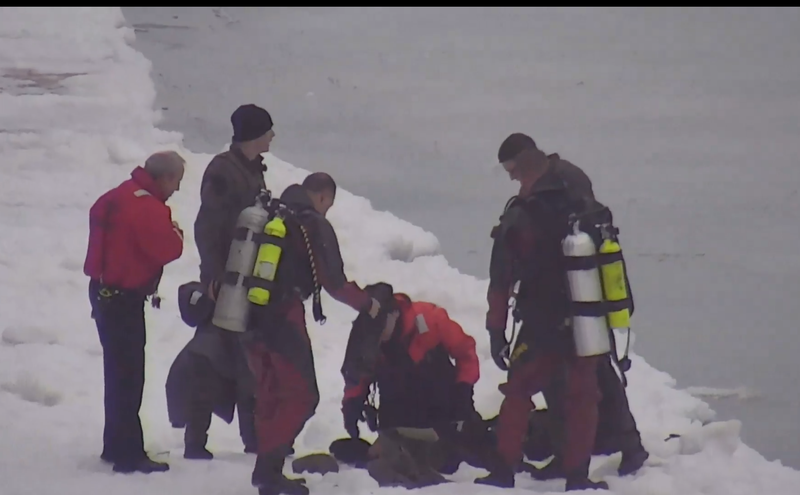 Chicago police SWAT rescue man who fell into frozen Lake Michigan