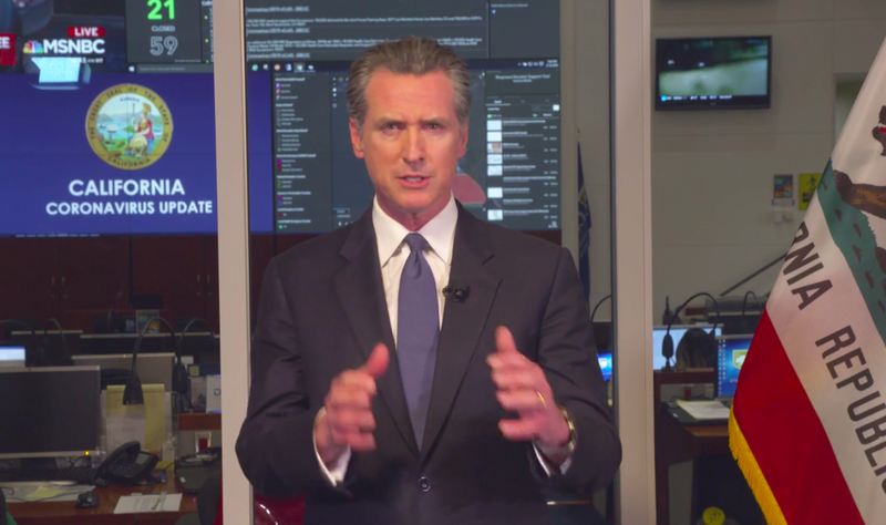 Gov. Gavin Newsom, speaking on Facebook Live on March 16, 2020, told gyms and movie theaters to close as the state increases attempts to stop the coronavirus outbreak.