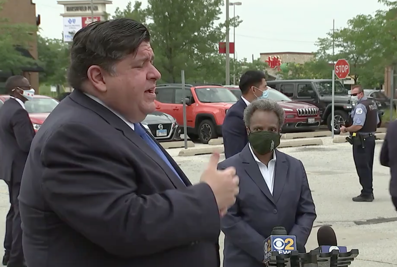Governor Pritzker said he and Mayor Lightfoot talked earlier Monday as looting broke out from the North Side to the South Loop.  He said the state is offering help.