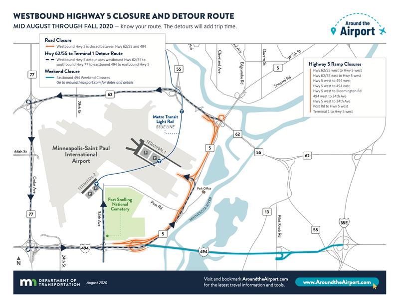 Around the airport traffic map 8/15/20