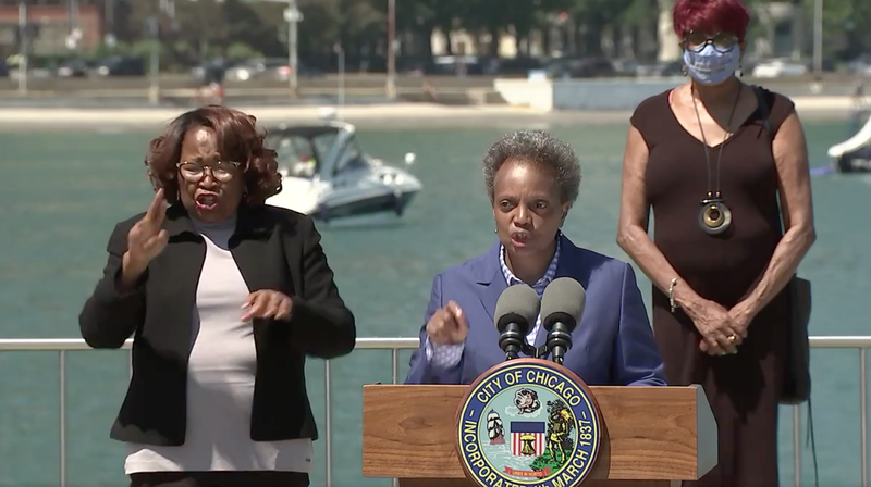 """Mayor Lori Lightfoot joined Fridaylaw enforcement, prosecutors and business and community leaders to announce """"new measures to protect Chicago's commercial corridors and neighborhoods."""""""
