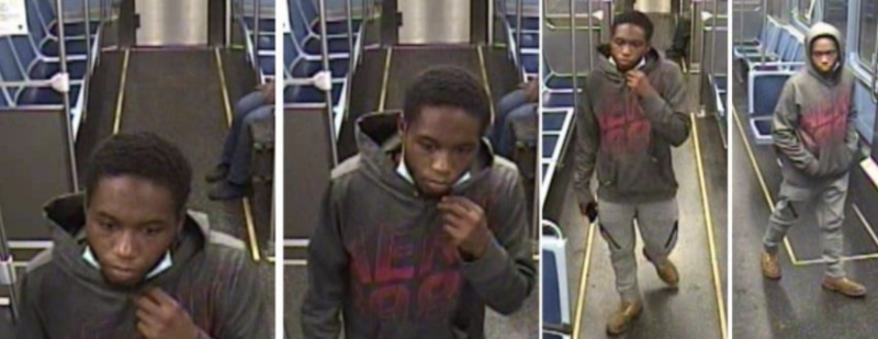 Surveillance images of a person suspected of stabbing four homeless men in July and August 2020 in the South Loop and on a CTA train.