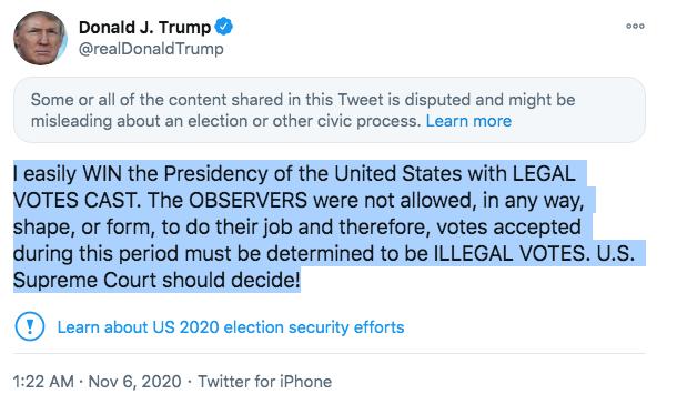 Tweet from President Trump