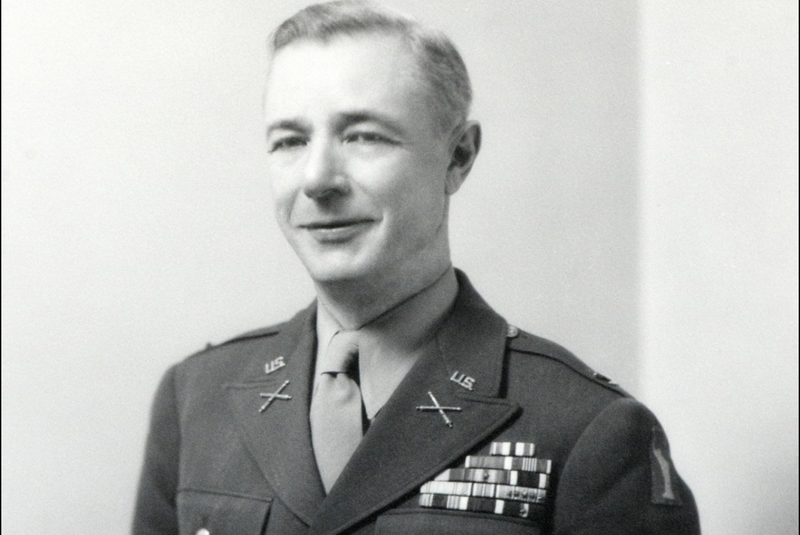 Royal Gervais poses for a photograph in his military uniform