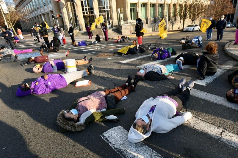 SEIU 1199NE Protest DSS Building in Hartford