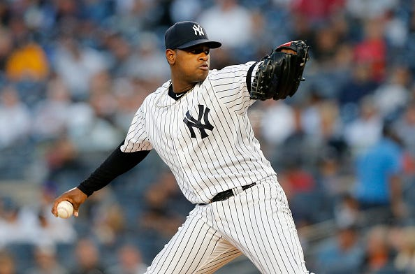 Yankees' Luis Severino pitches in his first game of the 2019 season.
