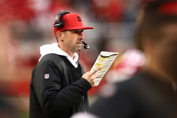 Kyle Shanahan calls plays for the 49ers in the NFC Championship Game.