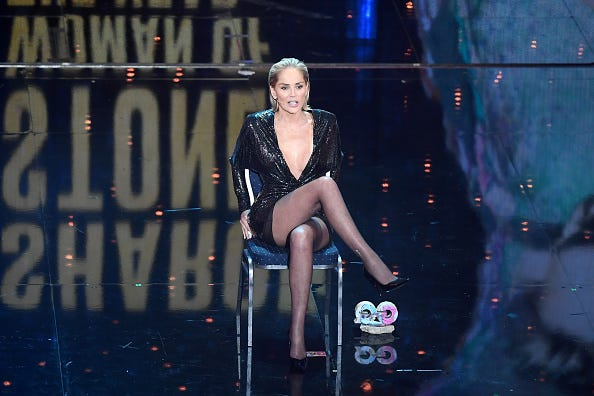 Sharon Stone recreates her 'Basic Instinct' scene at the GQ Awards