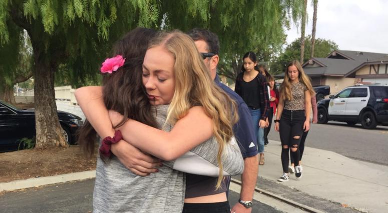 Tearful reunion at Saugus High School in Santa Clarita, CA