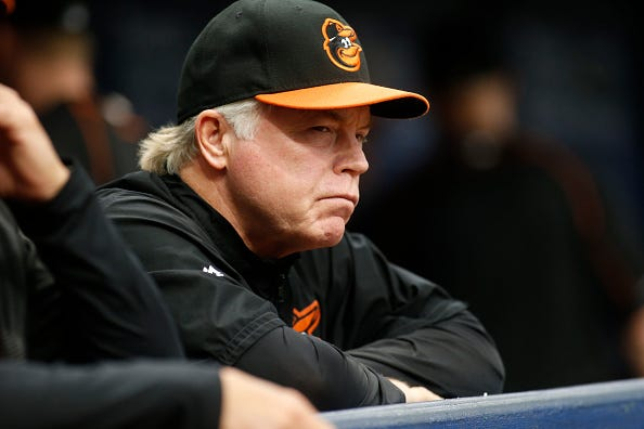 Orioles manager Buck Showalter watches from the dugout during a game in 2016.