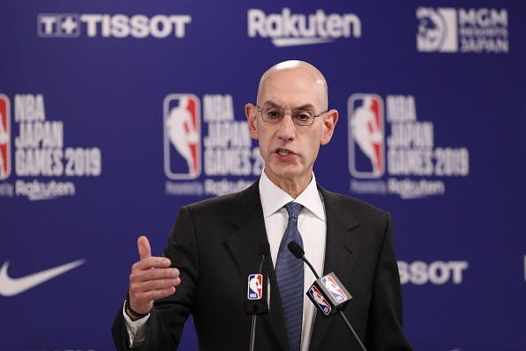 NBA Commissioner Adam Silver speaks at a press conference.