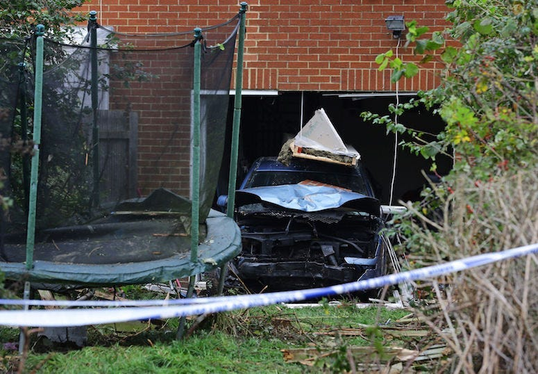Car, House, Accident, Damage, Brick Wall