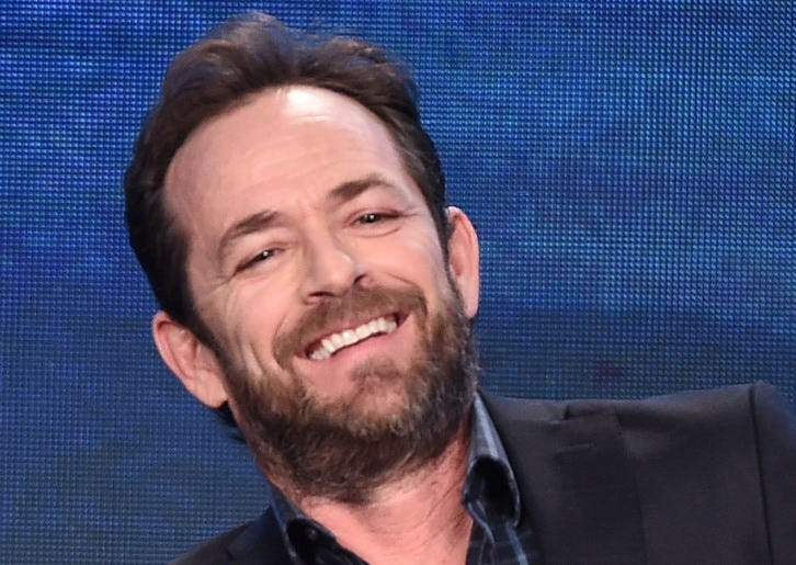 "PASADENA, CA - JANUARY 8 - Luke Perry onstage during the ""Riverdale"" panel at the CW 2017 Winter TCA Tour at the Langham Hotel on January 8, 2017 in Pasadena, California"
