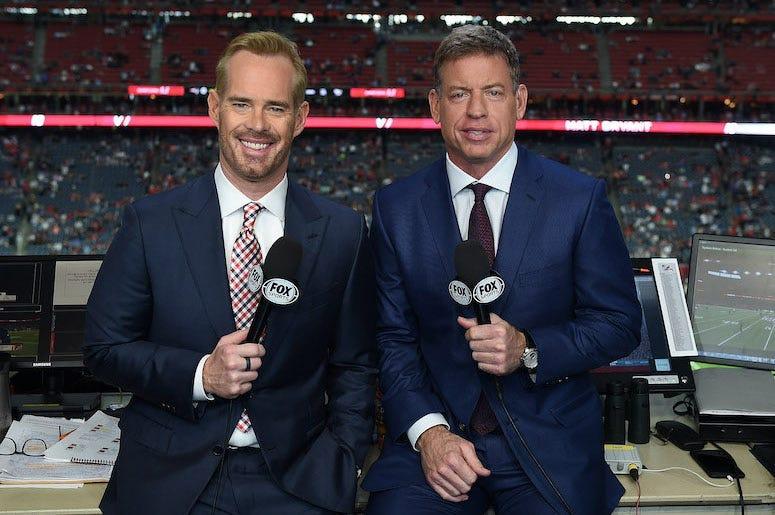 Troy Aikman, Joe Buck, Commentary Booth, Fox Sports, Microphones, Football