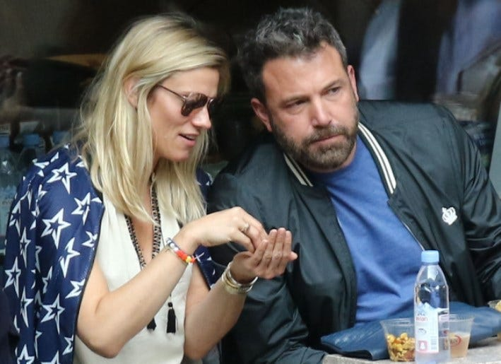 9/10/2017 - Ben Affleck and Lindsay Shookus are seen on day fourteen of the US Open at Billie Jean King National Tennis Center in New York.