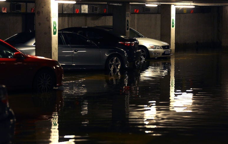Parking Garage, Cars, Flooded, Water, Dark