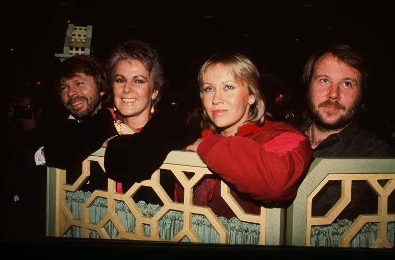 4/27/2018 - File photo dated 05/11/82 of (left to right) Benny Andersson, Anni-Frid Lyngstad, Agnetha Faltskog and Bjorn Ulvaeus of the Swedish pop group Abba at the Dorchester Hotel, London. In an official statement posted on Instagram the band announced