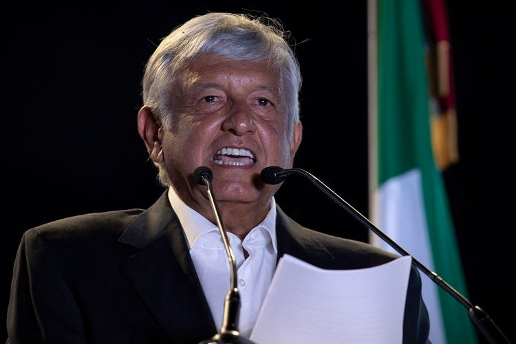 MEXICO CITY, June 28, 2018 (Xinhua) -- Mexico's presidential candidate Andres Manuel Lopez Obrador delivers a speech during the closing rally of his electoral campaign in Mexico City, capital of Mexico, on June 27, 2018. Some 89 million eligible voters wi