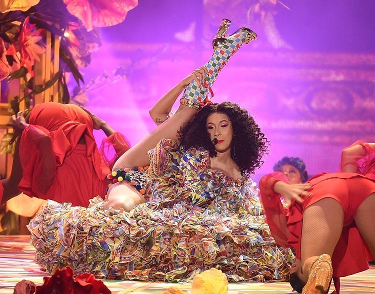 LOS ANGELES - OCTOBER 9: Cardi B onstage at the 2018 American Music Awards at the Microsoft Theatre on October 9, 2018 in Los Angeles, California.