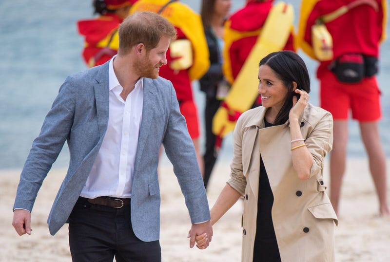 10/19/2018 - The Duke and Duchess of Sussex walk on South Melbourne Beach during their visit to Melbourne, on the third day of the royal couple's visit to Australia.
