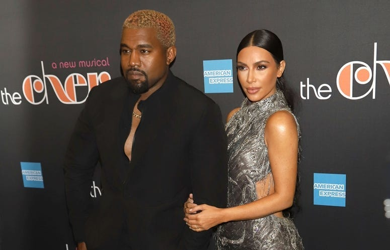 "12/3/2018 - Kanye West and Kim Kardashian West attend the opening night of ""The Cher Show"" on Broadway at the Neil Simon Theatre in New York"