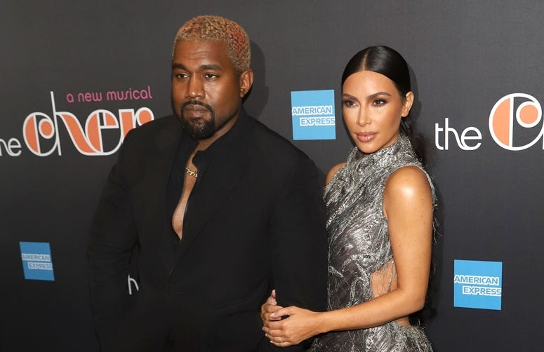 "12/3/2018 - Kanye West and Kim Kardashian West attend the opening night of ""The Cher Show"" on Broadway at the Neil Simon Theatre in New York."