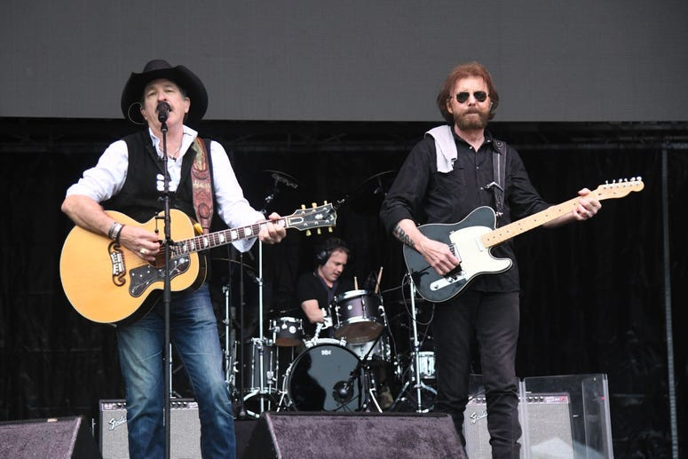 Brooks & Dunn (Kix Brooks and Ronnie Dunn) in concert at C.B. Smith Park in Pembroke Pines, Florida, January 26, 2019.