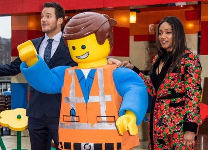 2/1/2019 - Stars of The Lego Movie 2, Chris Pratt and Tiffany Haddish, serve the first customers coffee as they officially open the Lego pop-up cafe 'The Coffee Chain' on the South Bank, London in partnership with UNICEF, to raise awareness and proceeds