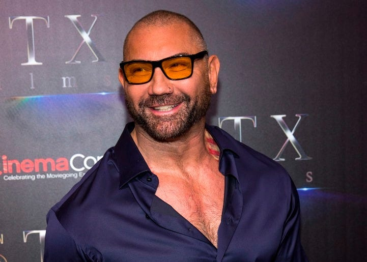 "American actor Dave Bautista attends CinemaCon 2019- STXfilms presentation ""The State of The Industry: Past, Present and Future"" held in Las Vegas, Nevada on April 2, 2019"