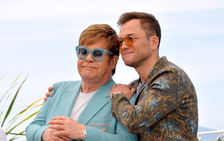 Elton John, Taron Egerton, Posing, Hug, Rocketman, Photocall, Cannes Film Festival, 2019