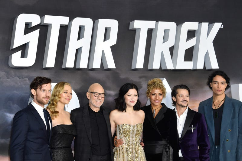 1/15/2020 - Harry Treadaway, Jeri Ryan, Sir Patrick Stewart, Isa Briones, Michelle Hurd, Jonathan Del Arco and Evan Evagora attending the Star Trek: Picard Premiere held at the Odeon Luxe Leicester Square, London.Picture date: Wednesday January 15, 2020.