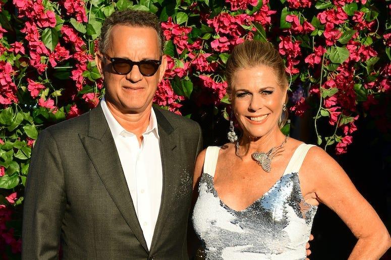 Tom Hanks, Rita Wilson, Red Carpet, Flower Background, 2018