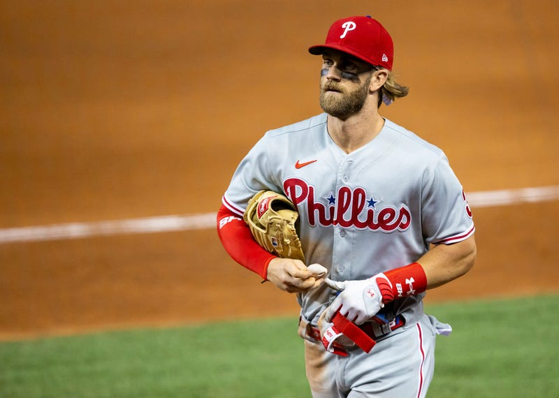 Philadelphia Phillies outfielder Bryce Harper (3) walks back to the Phillies dugout after the end of the seventh inning against the Miami Marlins on Monday, September 14, 2020 at Marlins Park in Miami, Florida.