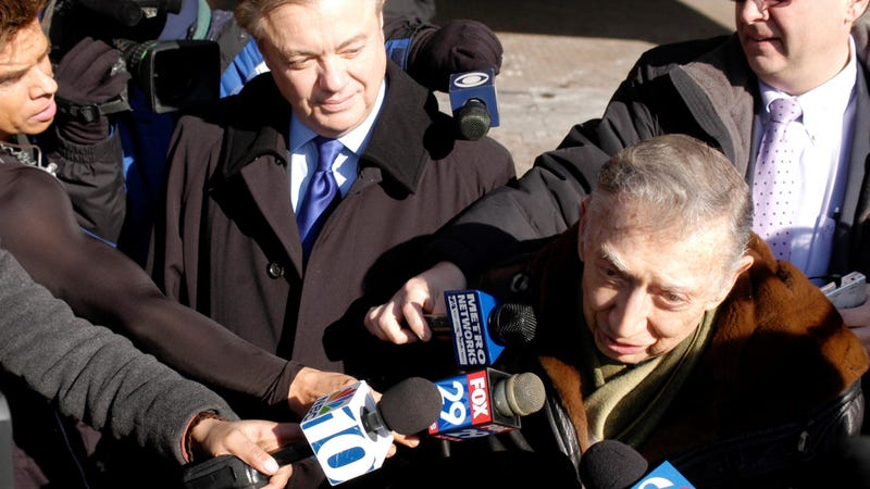 Pennsylvania State Sen. Vincent Fumo (top left) arrives for his arraignment at the William J. Green Federal Building in Philadelphia, Pennsylvania with lawyer Richard Sprague, February 7, 2007.
