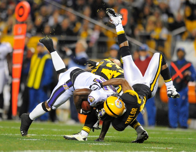 Ike Taylor tackles Anquan Boldin in a 2011 battle at Heinz Field