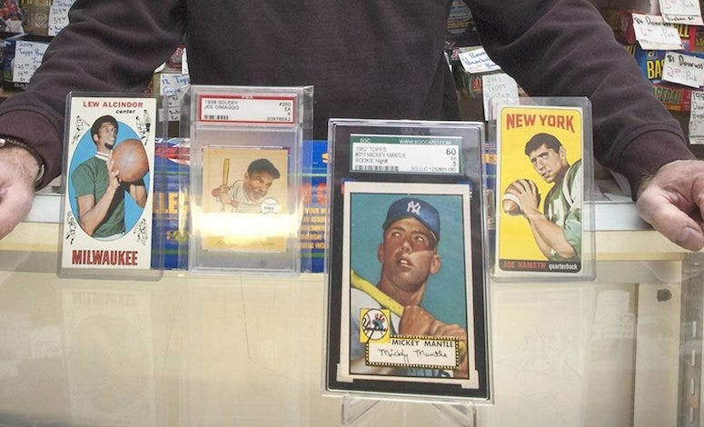 Sports Cards, Lew Alcindor, Joe DiMaggio, Mickey Mantle, Joe Namath