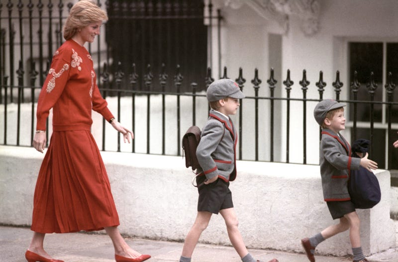 prince harry, age 5, on first day at wetherby school with princess diana and prince william, aged 7, in september 1989