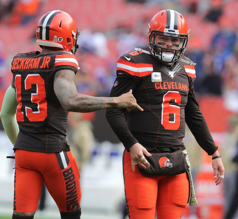 Cleveland Browns Odell Beckham Jr. greets Baker Mayfield before the game against the Buffalo Bills on Sunday, Nov. 10, 2019 in Cleveland, Ohio, at FirstEnergy Stadium. (Photo by Phil Masturzo/Akron Beacon Journal/TNS/Sipa USA)