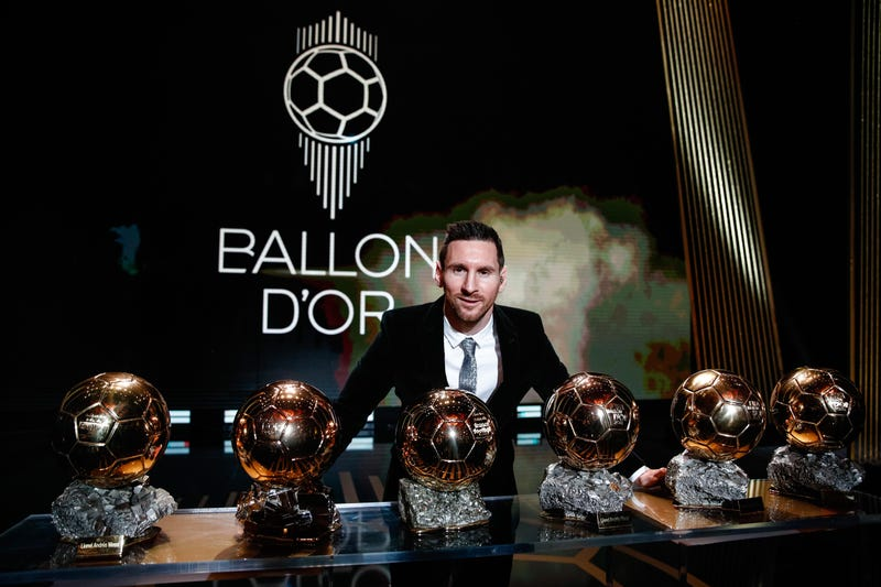 Barcelona's Argentinian forward Lionel Messi poses with the trophies during the Ballon d'Or 2019 awards ceremony at the Theatre du Chatelet in Paris, France, Dec. 2, 2019.