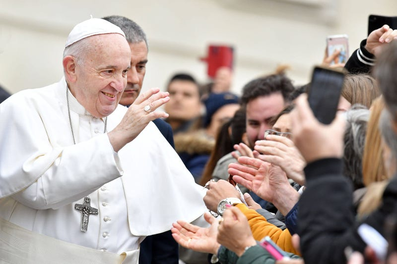 Pope Francis among the faithful in St Peter Square during General Audience in Vatican on 2/26/20