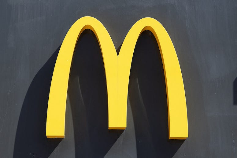 McDonald's logo on sign of building