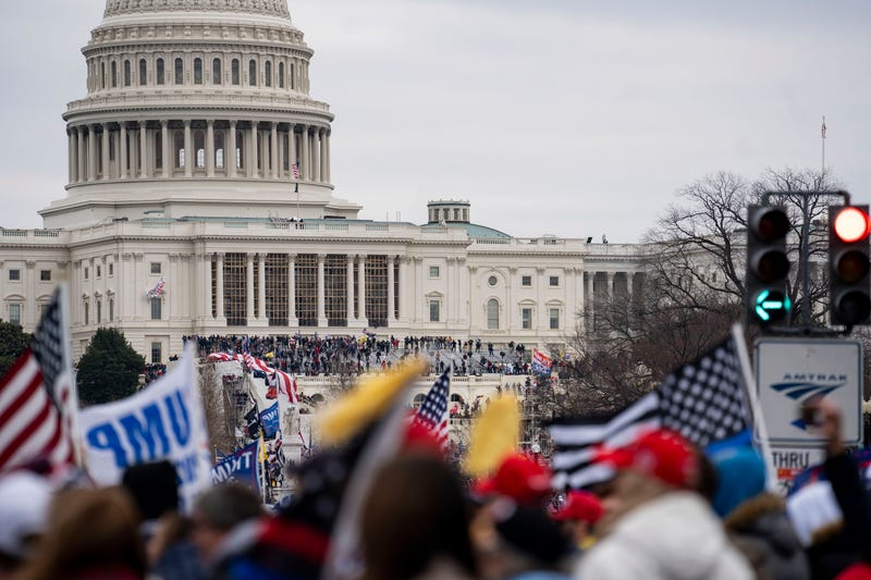 Supporters of U.S. President Donald Trump gather near the U.S. Capitol building in Washington, D.C., the United States, Jan. 6, 2021.
