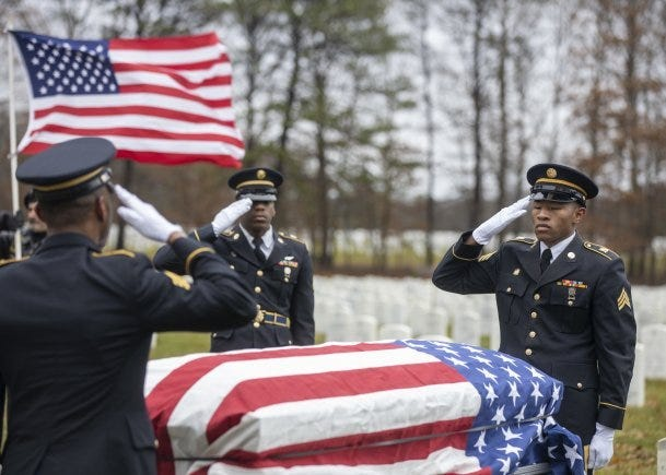 Members of the New York Military Forces Honor Guard provide military honors for the funeral service of former Army paratrooper Pvt. Needham Mayes at Calverton National Cemetery, N.Y. Dec. 2, 2019. Mayes, 85, a Soldier dishonorably discharged from the Army