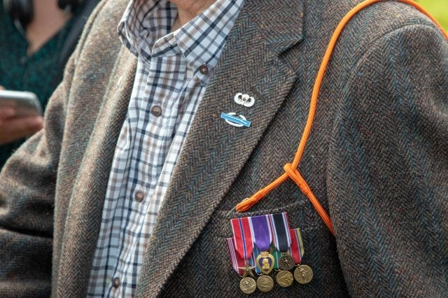 Gene Metcalfe, a World War II veteran and former POW, wears his Orange Lanyard after being awarded the Military Order of William, in Groesbeek, the Netherlands