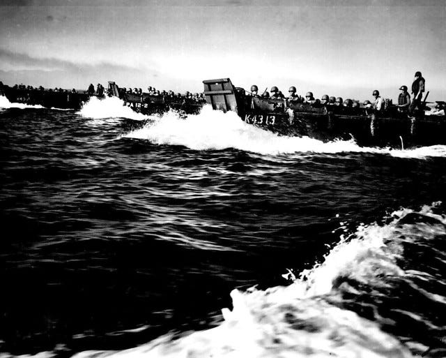 A first wave of U.S. troops approaches the beaches of northwest Luzon, Philippines, Jan. 9, 1945.