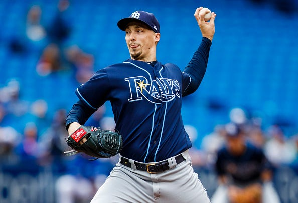 Rays left-hander Blake Snell pitches at Tropicana Field.